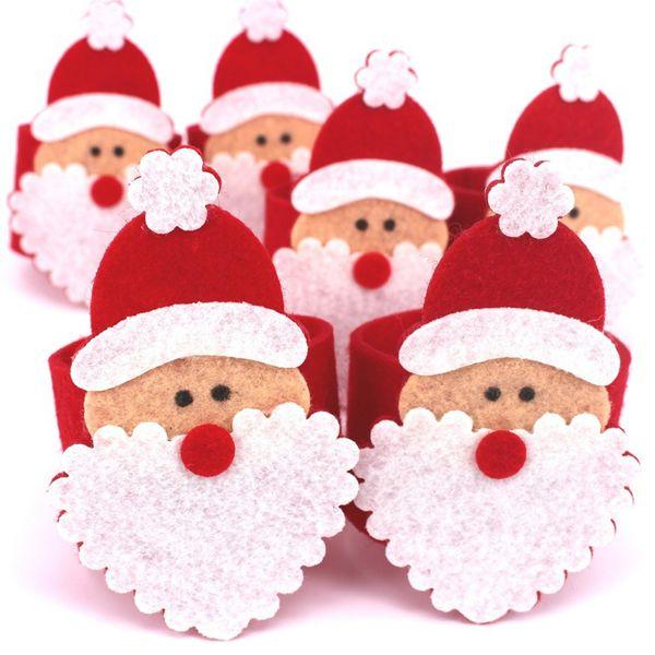 Wholesale-10Pcs Christmas Santa Napkin Ring Table Decor Napkin Holder For Hotel For Christmas Table Decoration Wholesale