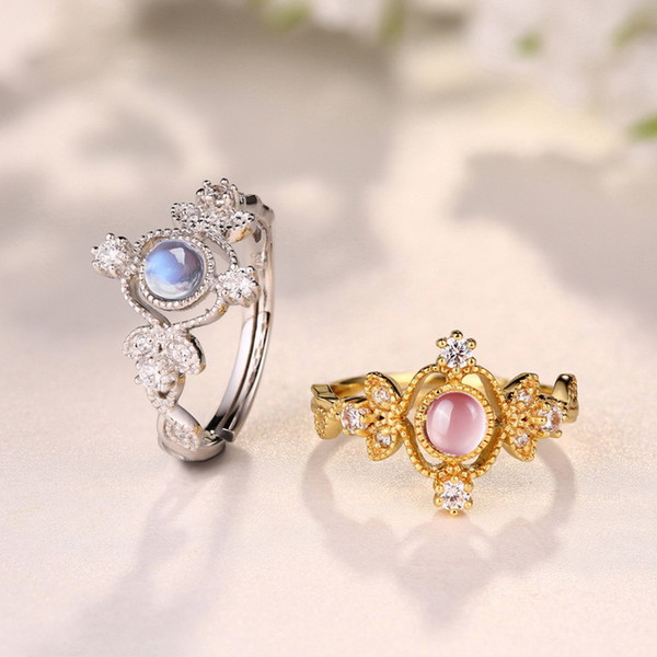 2017 SUMMER TOP FASHION Sterling Silver Gem Ring Blue Moonlight Ring Wedding ring crystal accessories Gemstone jewelry