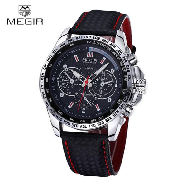 Al por mayor-MEGIR Marca de Deportes de Cuarzo Para Hombre Relojes de Primeras Marcas de Lujo Reloj de Cuarzo Correa de Reloj de Cuero Reloj de pulsera Masculino Relogio Masculino 2016