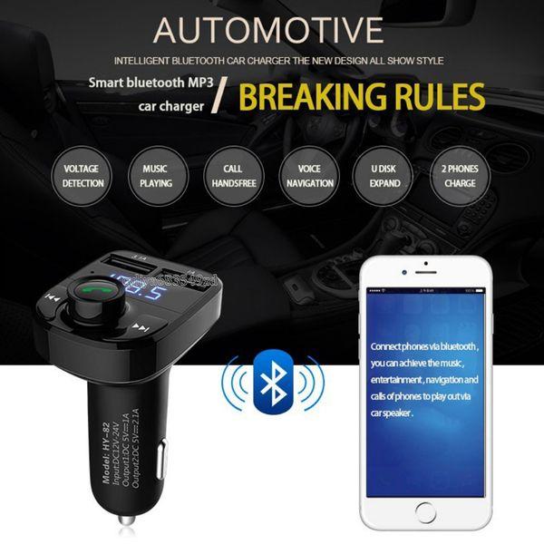Car Kit Freisprecheinrichtung Drahtlose Bluetooth FM Transmitter LCD MP3 Player USB Ladegerät für Smartphone Android Motorrad Bluetooth Kit (schwarz)