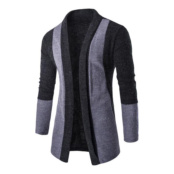 Al por mayor- chaquetas para hombre chaqueta de punto delgado de manga larga Casual Stand Collar hombres abierta tejer cardigan DM # 6