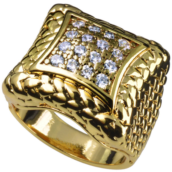 Men's 18k gold Filled created diamond engagement wedding ring R105 size 9-12