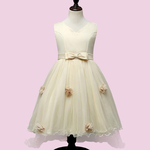 066cfdb405d 2 Color Girls Party Wear Dress Kids New Sequins Children Wedding Birthday  princess bowknot tail wedding dresses For Girls Kids Clothing B001