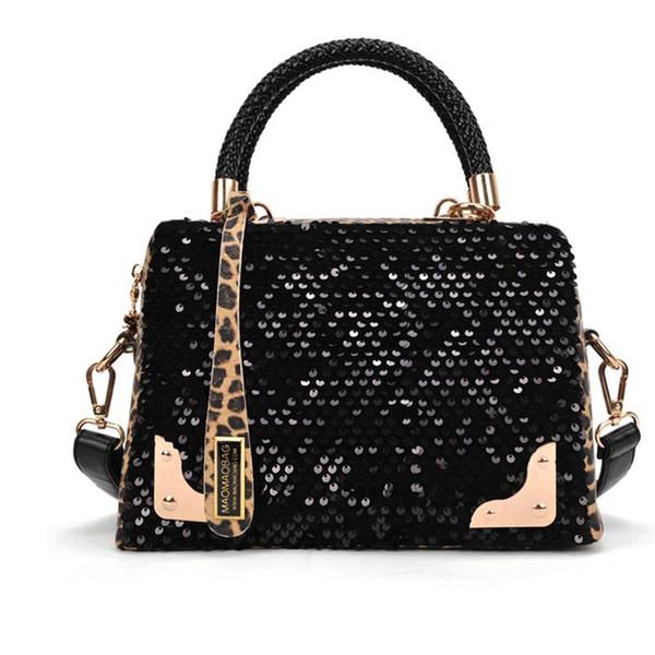2017 New Women High Quality Leather Sequin Leopard Messenger Crossbody Shoulder Bags Fashion Handbags bolsa feminina Wholesale