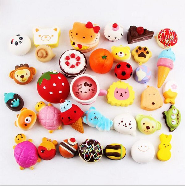 Kawaii Squishy Donut Soft Squishies Cute phone Straps Bag Squishy Soft Charms Slow Rising Squishies Jumbo Pendent 10pcs/lot OOA2720
