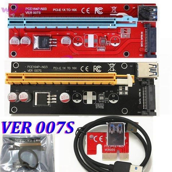 VER 007S Red PCI-E PCI E Express 1X to 16X graphics card Riser Card SATA Molex Power Supply with USB 3.0 Cable For Bitcoin Miner