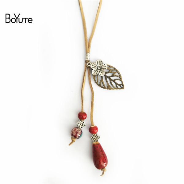 BoYuTe Hot 5Pcs 2 Colors Rope Chain Ceramic Bead Leaf Pendant Vintage Ethnic Necklace Women Jewelry