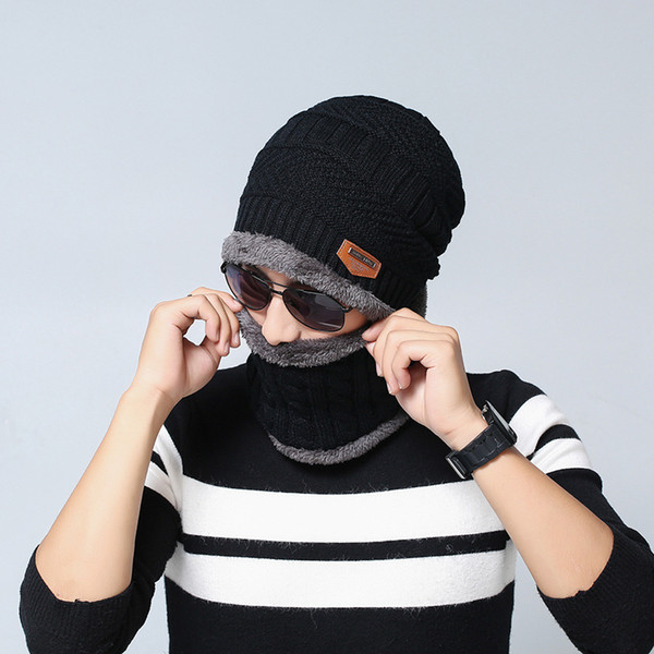 New Winter Knit wool beanies hats + Scarf Down Liner outdoor warm beanies for men 6 colors free shipping