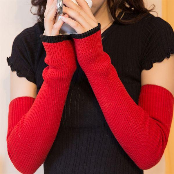 Wholesale- ALKMENE Fashion Warm Women Cashmere Gloves Winter Autumn Long Women Knitted Mittens 2017 New Simple Design Fingerless Gloves