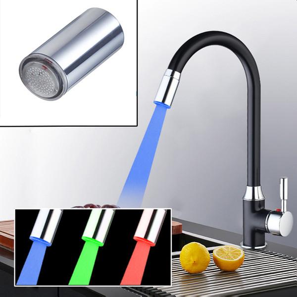 Al por mayor-3 Color LED luz agua grifo grifo jefes (solo Faucet Head) y cromo sólido cocina grifo de la cocina del recipiente giratorio del mezclador