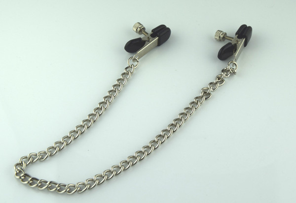 Free shipping New Adult BDSM Sex Toy Fantasy Clamps Clips With Ring with Chain Fetish Metal Silver For Women