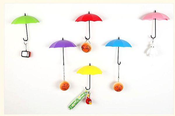 3pcs/lot Creative Umbrella Shaped Key Holder Hanger Wall Shelf Rack Home Storage Organizer Kitchen Accessories