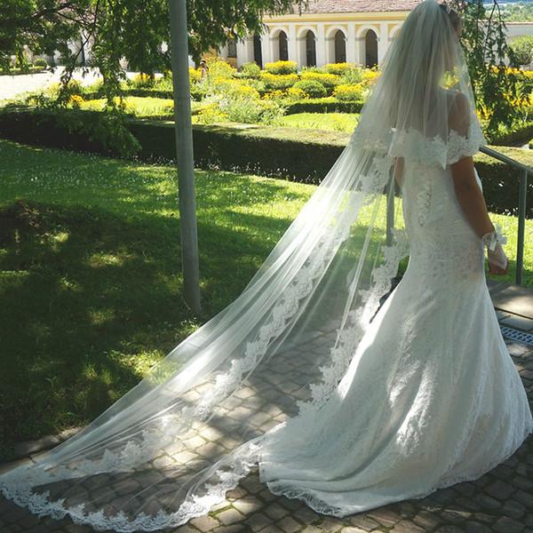 3M New White Ivory Wedding Veils 2 Layers Tulle Lace Bridal Veil Appliques Long Wedding Veil Veu De Noiva