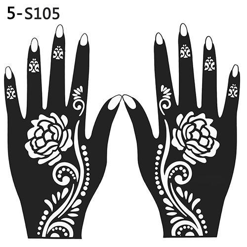 Großhandel-2016 Neue 2 Stücke Henna Schablone Temporäre Hand Tattoo Body Arts Aufkleber Vorlage Werkzeuge 08WG