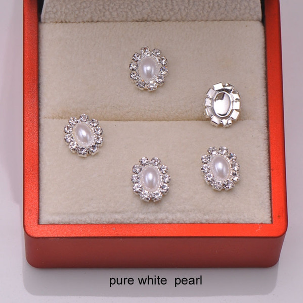 (L0007) 10pcs free shipping 9mmx10mm Oval pearl rhinestone embellishment,cute products,iovry or pure white pearl in middle