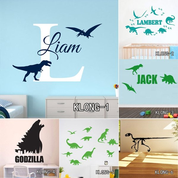 Customized Dinosaurs Wall Stickers for Kids Room DIY Home Decals Cartoon Dinosaurs Birds Sticker Room Posters Free Shipping