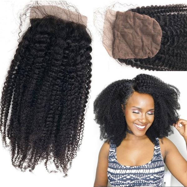 Afro Kinky Curly Human Hair Silk Base Closure for African American Brazilian Virgin Hair Silk Closure with Baby Hair FDSHINE