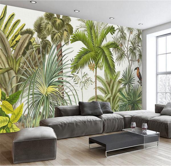 Large Custom Wallpaper Tropical Rainforest Green Plant Flower Bird Oil Painting Background Wall Living Room Bedroom Wallpaper Designs Wallpaper