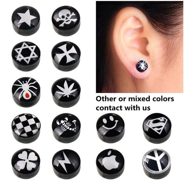 Orecchini a forma di gocciolamento nero Orecchini a forma di per le donne Uomini Bianco Nero Magnete magnetico Orecchini a forma di orecchio Clip su nessun regalo foro orecchio