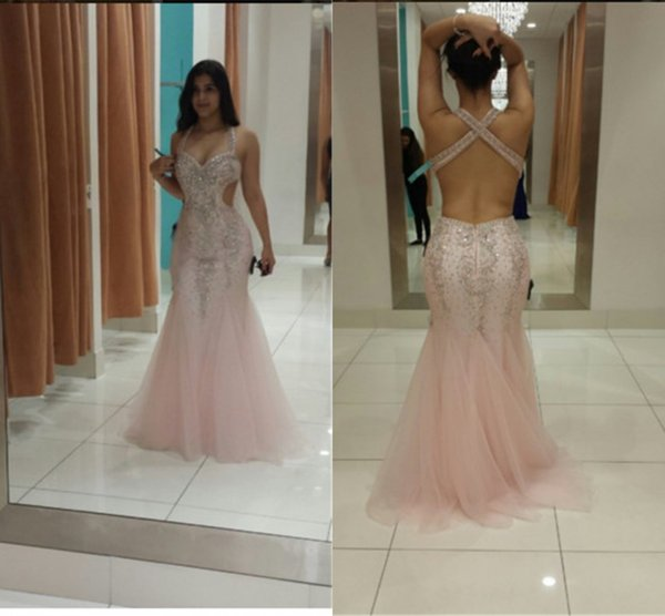2017 Luxury African Prom Dresses For Black Girl Pink Crystal ...