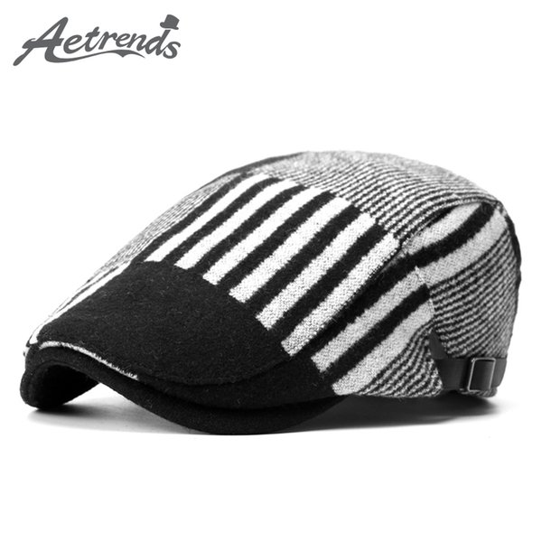 Wholesale-[AETRENDS] 2016 New Winter Wool Hats for Men or Women Beret Hat Striped Berets Fashion Cap Z-3972