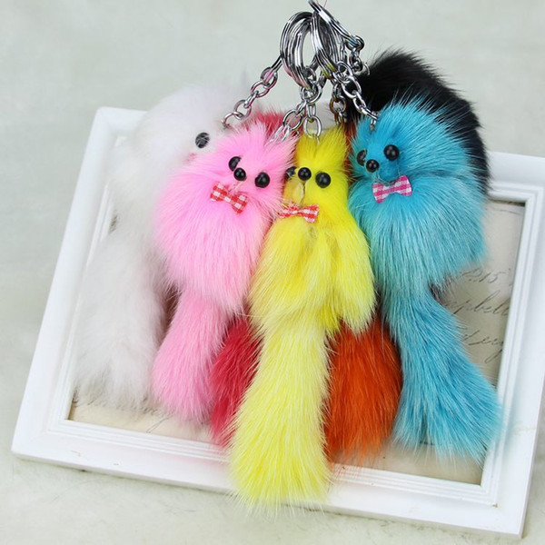 Fox fur plush ms.man car key pendant pendant mobile phone bag leather Keychain