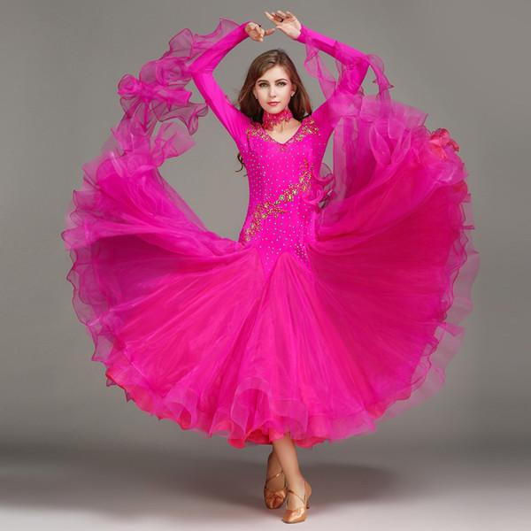 Costume da ballo Standard da donna Vestito a maniche lunghe in Lycra elasticizzato Costume da ballo per adulti Waltz Danza Dres