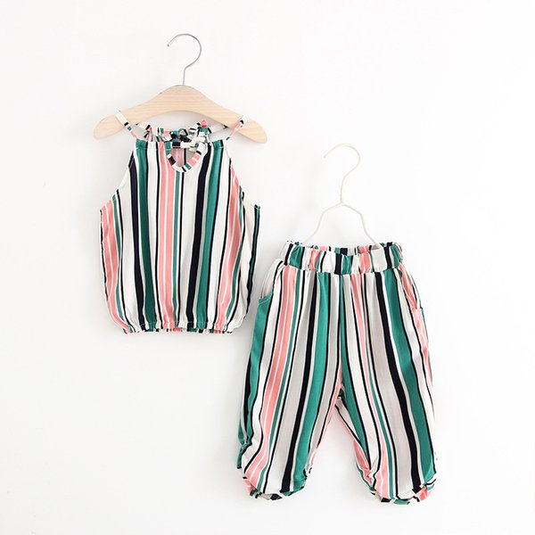 Summer Children Clothing Sets Baby Girl Striped Halter Tops+ Pants 2Pcs Sets Kids Outfits Children Summer Clothing Suits