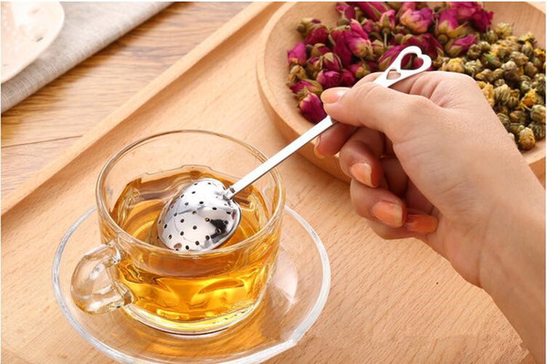 """2017 Hot Spring """"Tea Time"""" Convenience Heart Tea Infuser Heart-Shaped Stainless Herbal Tea Infuser Spoon Filter DHL FEDEX Free Shipping"""