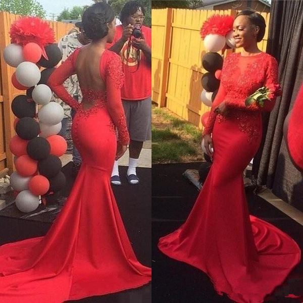 2017 African Red Mermaid Evening Prom Dresses Sexy Backless Long Sleeves Jewel Neckline Lace Appliques Formal Party Gowns Black Girls