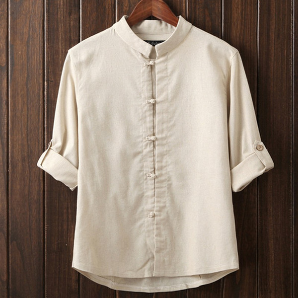 Wholesale- Stand Up Collar Plus Size Masculina Camisas Shinese Knot Button Leisure Men Shirts Solid Color Fancy Blouses