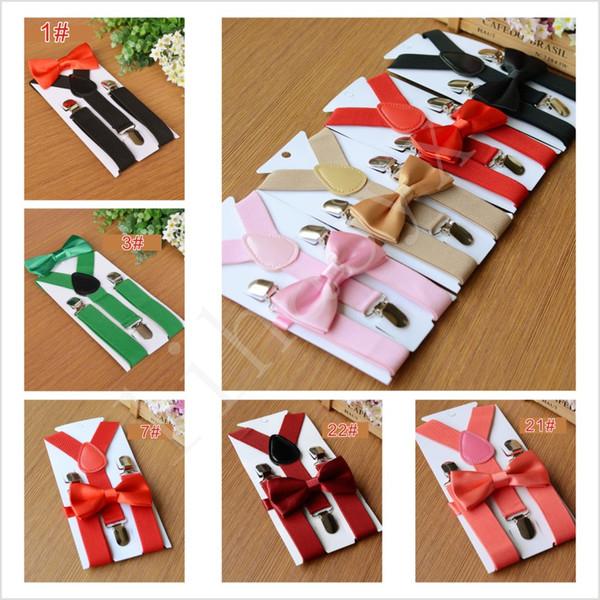 Venda quente 27 cores Suspensórios Crianças Bow Tie Set para 1-10 T Bebê Cintas Elásticas Y-back Meninos Meninas Suspensórios acessórios BD03