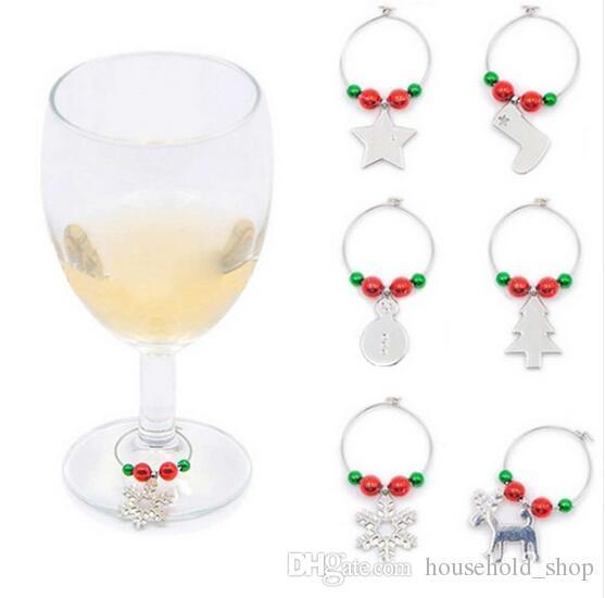 Noel Şarap Takılar Şarap Gözlük İçme Bardak Yüzük için Parti Düğün Yeni Yıl Masa Dekorasyon Alaşım Şarap Cam Charms