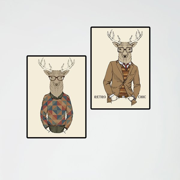 DIY Framed Wall Decor Picture 2 Panel Europe Painting of Humor Man Deer Modular Paintings on the Wall Custom Canvas Prints