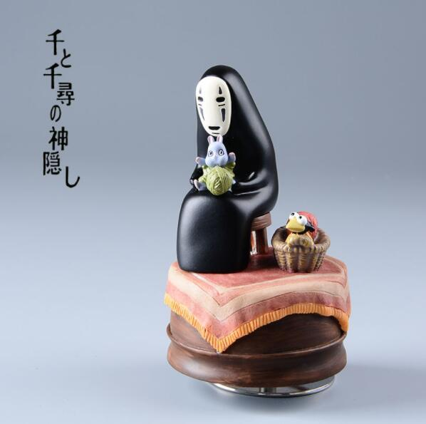 Studio Ghilbli Kaonashi Action Figures Miyazaki Hayao Spirited Away Music Box No Face Resin Figurine Kids Toys Anime Figure