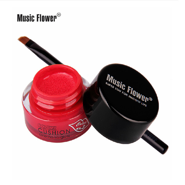 Wholesale-Brand Makeup Maquiagem 3D Sexy Music Flower Air Cushion 24h Long Lasting Lip Gloss Waterproof 10 Colors with Lip Brush