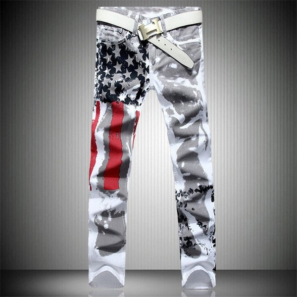 Wholesale- Mens Printed Jeans Plus Size Flag Printing Design White Jeans For Men Stars Striped Straight Ripped Jeans Male 36 Free Shipping