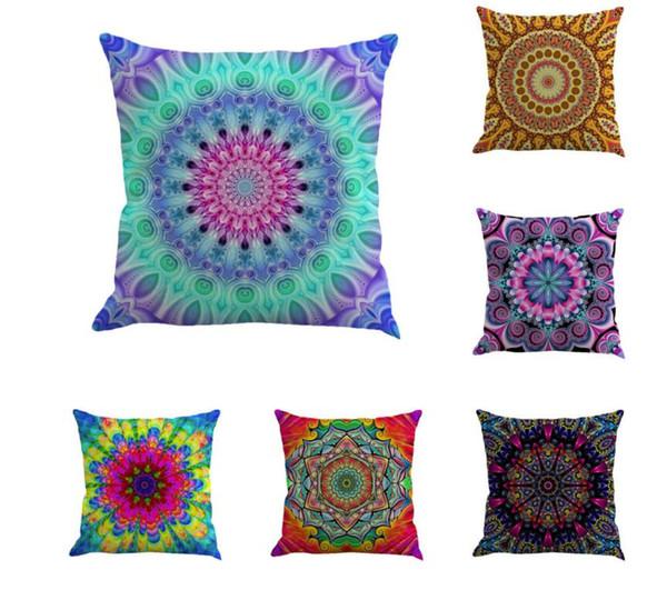 Mandala Cushion Cover 70 Styles Geometric Bohemia Pillowcase Linen Chair Seat Car Sofa Decorative Square 45*45cm Pillowcase 100pcs
