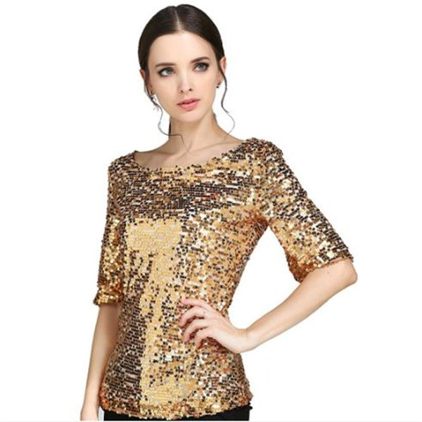 Hot Woman Club Dresses Lady Casual Tops Glitter Tank 3 color big round neck half sleeve shiny large size ladies t shirt ouc467
