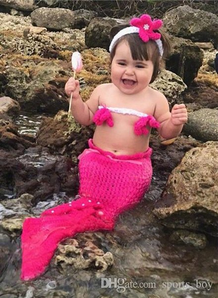 Children Photography Baby Mermaid Clothes Baby Mermaid Dress With Pearl Knitting Flower For Lovely Baby Seller Free Shipping