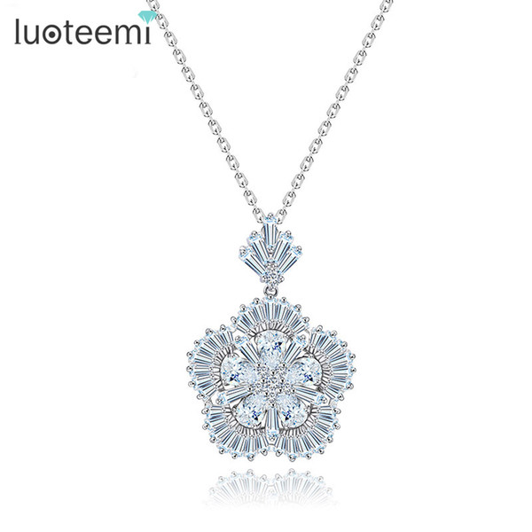 LUOTEEMI New Design Fashion Exquisite Flower Gem Petals Pendant Charming Necklace Jewelry Items for Women Bridal Wedding Gift
