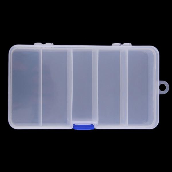 top popular 5 compartments By 4 Splitter Transparent Plastic Storage Organizer Container Case Fishing Lure Bait Box 17cm*8.5cm*3cm 2019