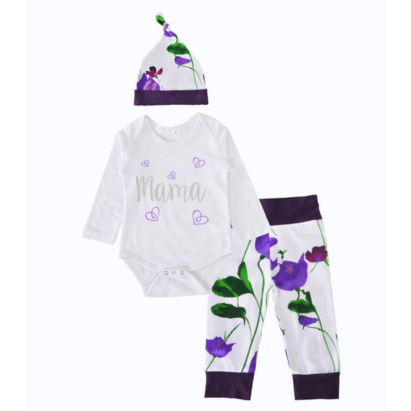 Bebek Kız Giyim Seti Noel Sevimli Kalp Mama Mektup Tulum + Mor Çiçek Pantolon + Çiçek Şapka 3 Adet Setleri Kızlar Giysi Sonbahar Yenidoğan Giyim