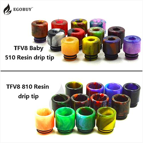 top popular Drip tips 810 Clearomizer Epoxy Resin TFV8 Big baby mouthpiece drip tip 510 for TFV8 x-baby tank TFV12 atomizer big-baby prince Cloud beast 2021