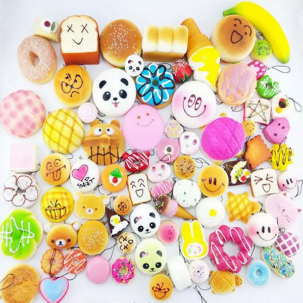 10pcs/lot Kawaii Squishies Bun Toast Donut Bread for cell phone Bag Charm Straps Wholesale mixed Rare Squishy slow rising lanyard scented