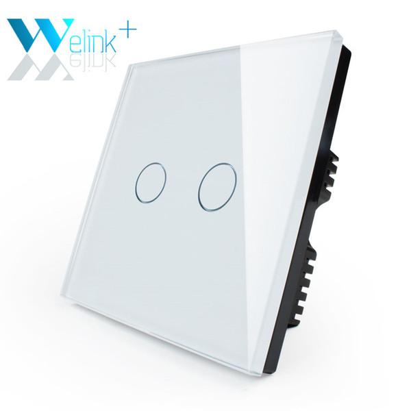 Оптово-2Gang1Way,WeLink,британскому стандарту,свет лампы настенный выключатель,Сенсорный выключатель,закаленное стекло+светодиодный индикатор, слоновая кость белый кристалл стекло