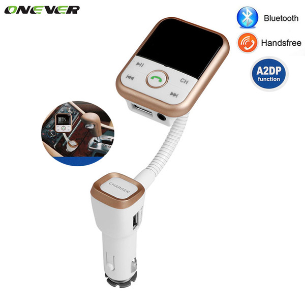 Al por mayor-A2DP Bluetooth Car Kit Reproductor de MP3 Manos libres Transmisor FM inalámbrico Adaptador de radio con LCD Control remoto para SmartPhone 1PCS