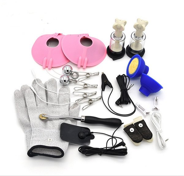 Adult BDSM Bondage Electro Shock Kit Electrode Silver Fiber Gloves Ear Labia Clamps Vagian Anal Shock Rings Sticky Pads Sex Toys