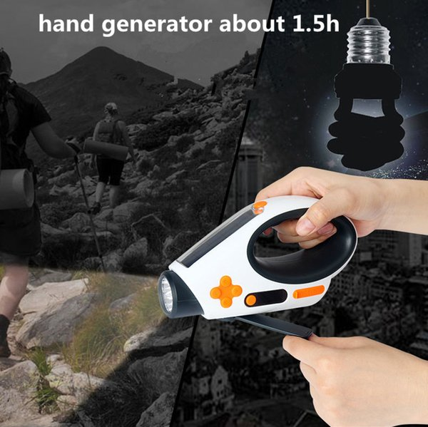 Multifunction Flashlights Solar Hand Crank Dynamo Powered LED Light Manual Electricity Generation FM/AM Radio Torches Phone Charger Portable