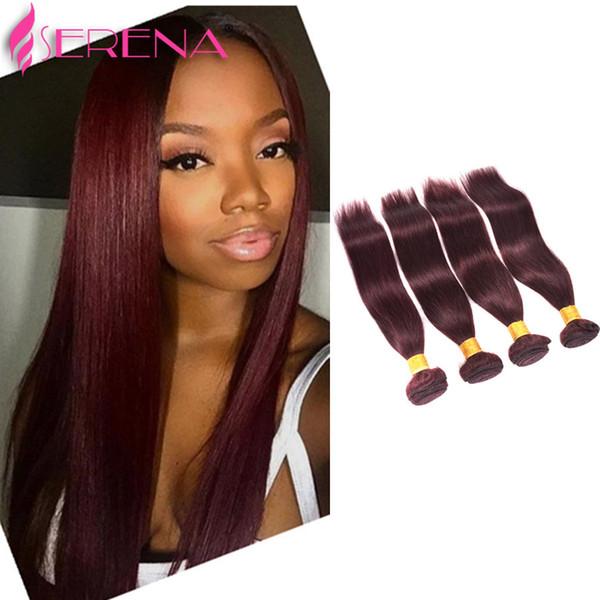 Borgoña vino color rojo 99J brasileño virginal armadura del pelo paquetes peruano malasio indio sedoso virgen recta Remy extensiones de cabello humano